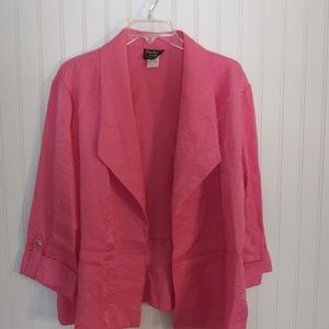 Southern Lady pink open front blazer